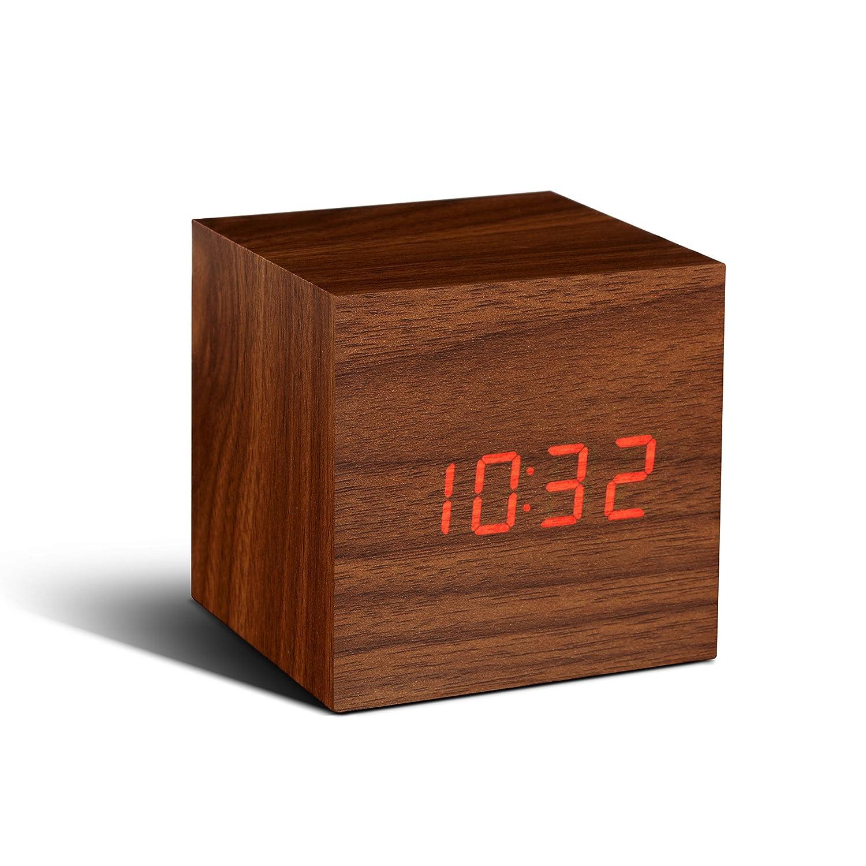 amazoncom gingko cube click clock walnutred led home  kitchen -