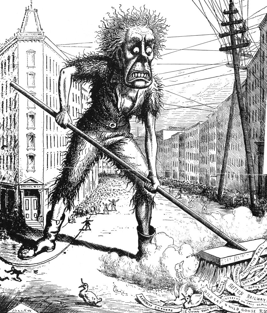 Cartoon Wall Street 1873 Npanic As A Health Officer Sweeps The Garbage Out Of Wall Street A Contemporary Comment On The Wall Street Crash And The Financial Panic Of 1873 From The New York Daily Graphi