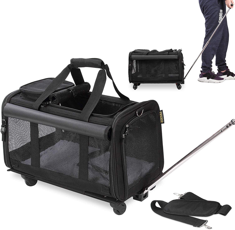 KOPEKS Transportador de Viaje para Mascotas, Bolsa con Manecilla y 4 Ruedas para Transportar Perros, Gatos, Mascotas y Accesorios - Negro