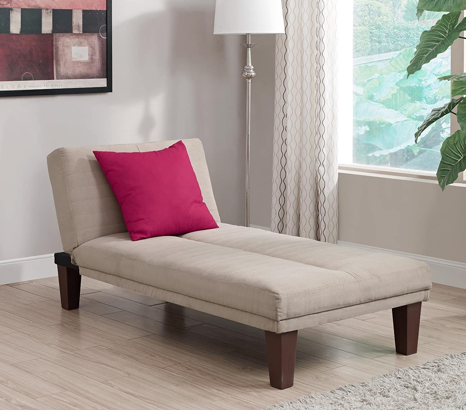 Amazon.com: DHP Dillan Chaise Lounger With Microfiber Upholstery And Wood  Legs   Tan: Kitchen U0026 Dining