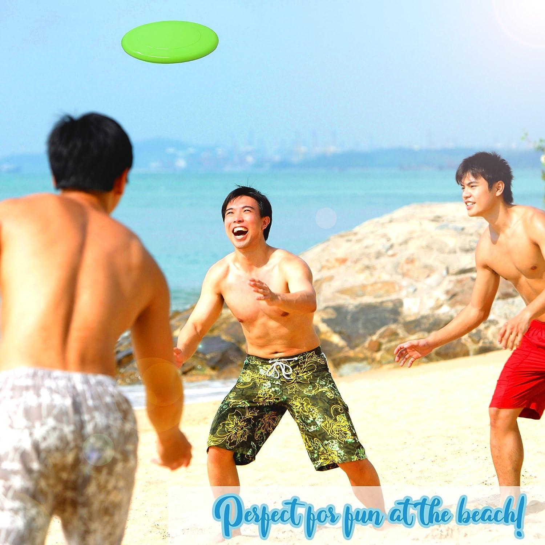 BRAMBLE Diversi/ón Ideal para Adultos y ni/ños. 12 Frisbee de Colores Surtido de platillos voladores de Colores