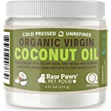 Raw Paws Organic Coconut Oil for Dogs & Cats, 4-oz - Treatment for Itchy Skin, Dry Nose, Paws, Elbows, Hot Spot Lotion for Do