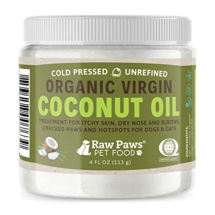 Raw Paws Organic Coconut Oil For Dogs Cats 4 Oz Treatment Itchy Skin Dry Nose Paws Elbows Hot Spot Lotion Dogs Natural Hairball Remedy Flea Tick Prevention Amazon In Pet Supplies
