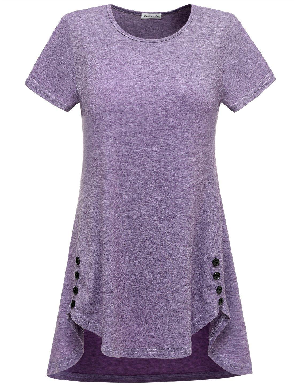 Modecrush Women's Summer Long Tunic Shirt Loose Fit Flowy Cute Top Unique Button Decor 2XL Violet