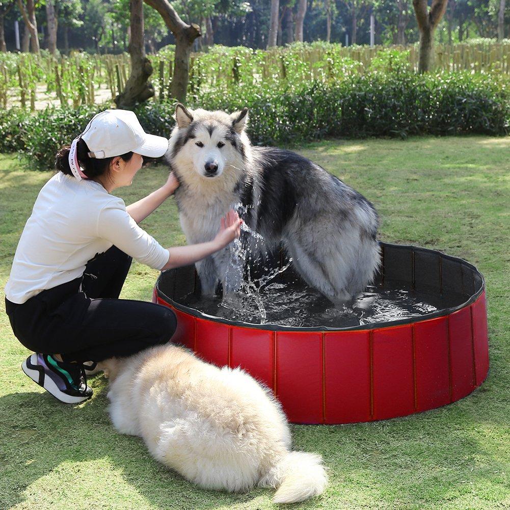 Fuloon Foldable Pet Swimming Pool Bathing Tub Bathtub Dog Cats Washer (M, Red)