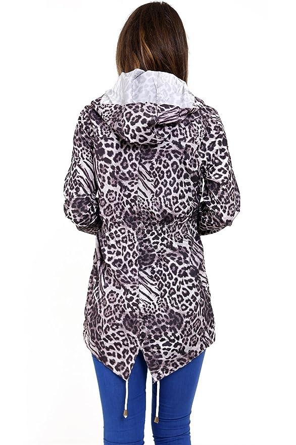 SheLikes - Chaqueta - para Mujer Grey Animal Print: Amazon ...