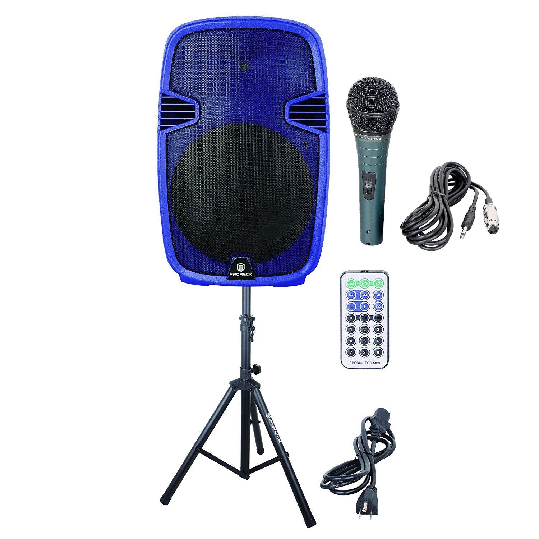 PRORECK PR-C15 Portable 15-inch 600 Watt 2-way Dj/PA Powered Speaker with Bluetooth/USB/SD Card Reader/ FM Radio/Remote Control/LED Light/Speaker Stand, Blue
