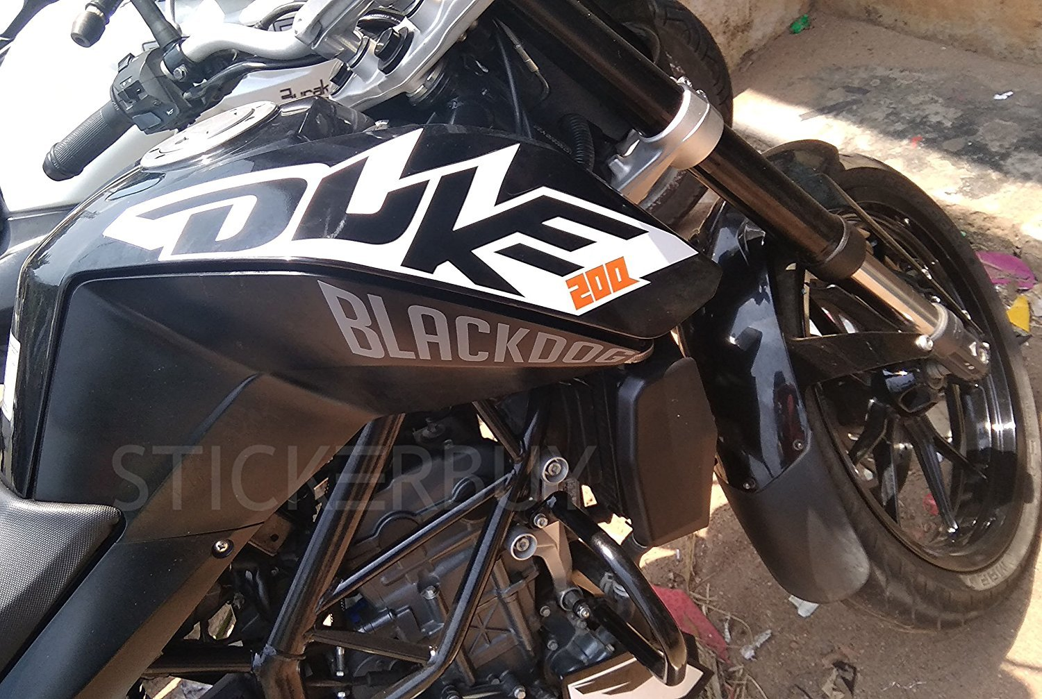 Stickerbuy blackdog new creative bike sticker for ktm duke 200 latest design bike styling decorative recent decal grey amazon in car motorbike