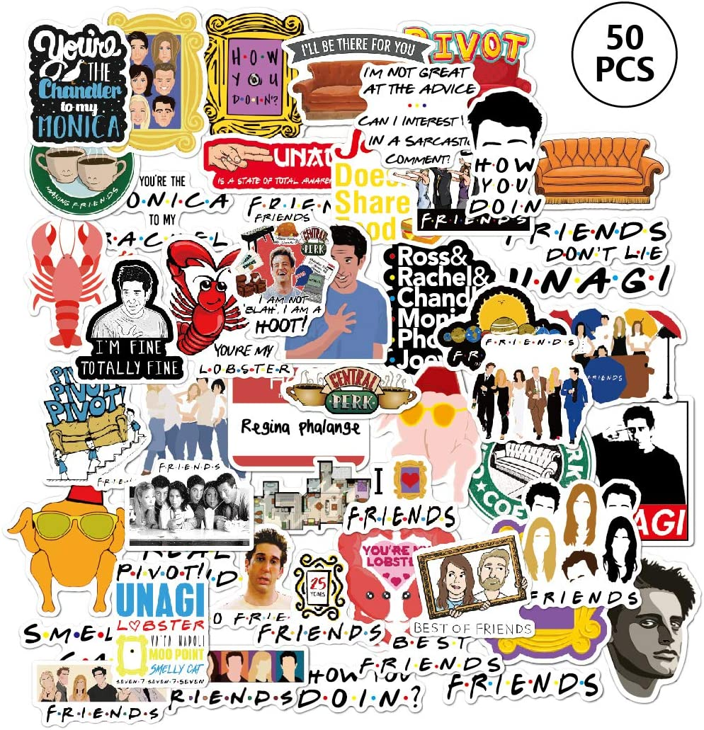 Friends TV Show Merchandise Stickers[50pcs] Funny Quote Waterproof Vinyl Stickers for Party Hydro Flasks Water Bottles Cups Laptop Notebook Computers Guitar Bike Helmet Car, Best Gift for Teen Friends