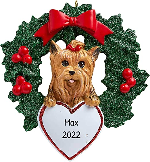 Christmas In Yorkshire 2020 Amazon.com: Personalized Yorkshire Terrier with Wreath Christmas