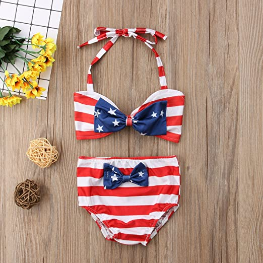 Toddler Baby Girls Striped Two Piece Bikini Set 4th of July Party Bathing Suit