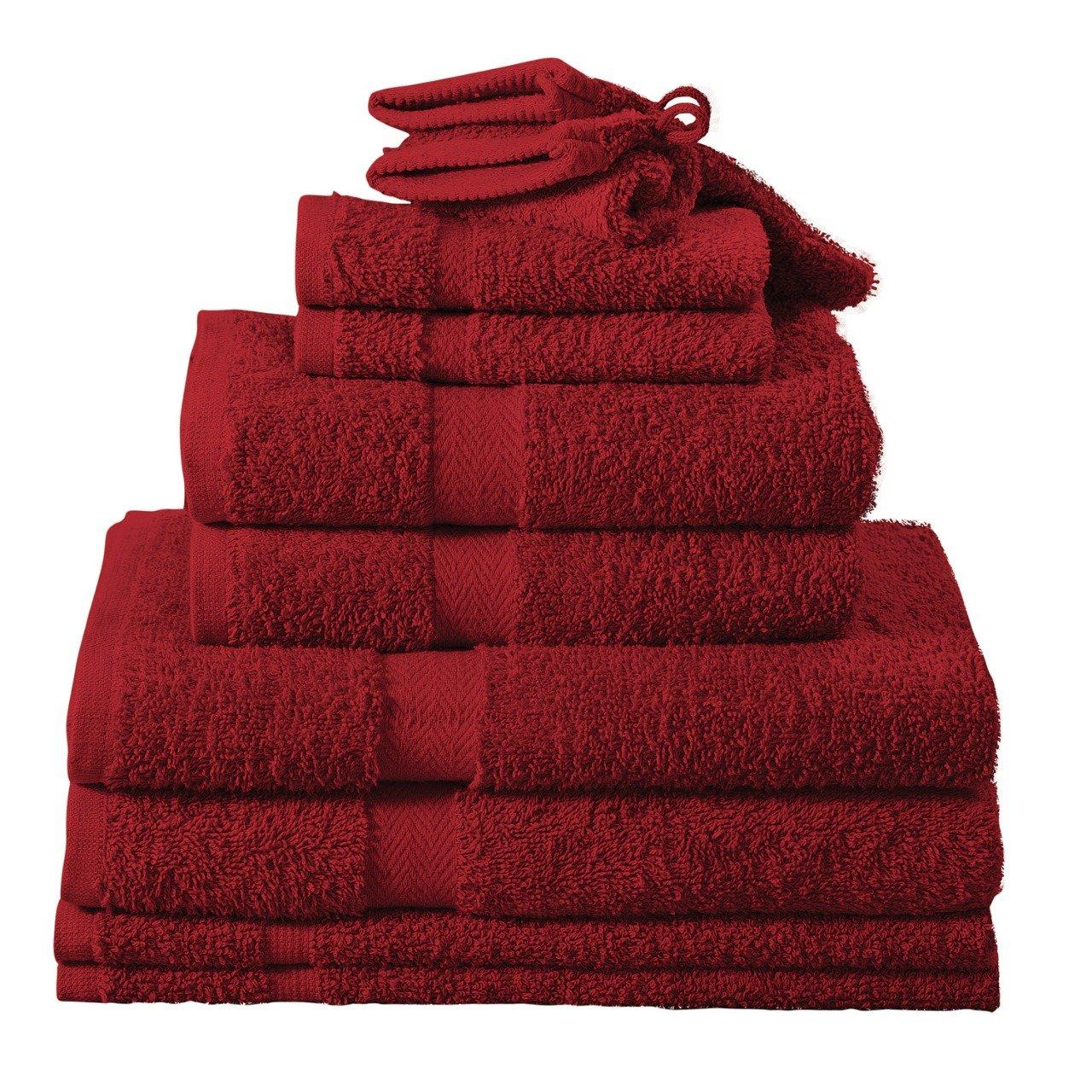 Heim24h 10 tlg 2 Badematte aus Baumwolle Handtuch-Set 2 Waschhandschuhe 2 Handtücher 2 Duschtücher 2 Gästetücher 2 Gästetücher 2 Duschtücher Bordeaux//Rot 2 Handtücher