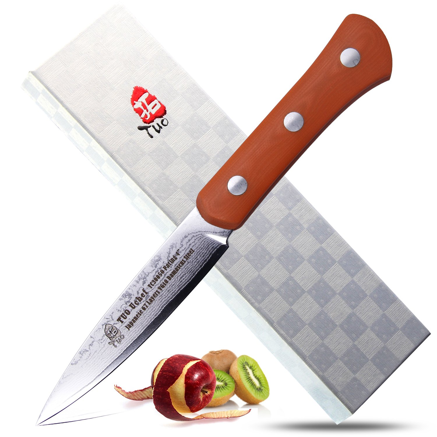 TUO Cutlery TC3005O Uchef 3.5'' Damascus Paring Knife