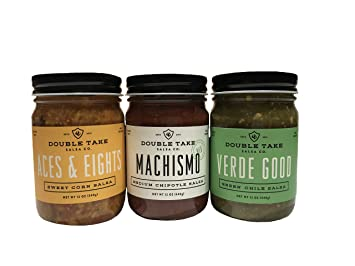 Double Take Salsa Gourmet Variety 3 Pack, Aces & Eights Sweet Corn, Machismo Medium