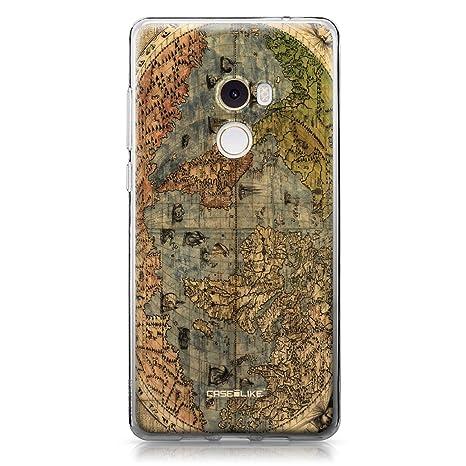 CASEiLIKE® Funda Mi Mix 2, Carcasa Xiaomi Mi Mix 2, Mapa del Mundo de la Vendimia 4608, TPU Gel Silicone Protectora Cover