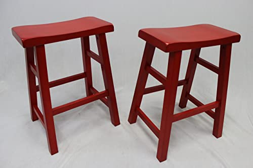 Set of 2 Heavy Duty Saddle Seat Bar Stools Counter Stools – 24 Red