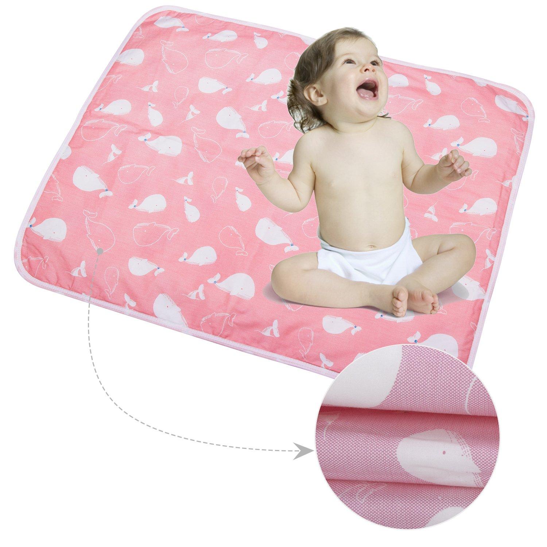 3 Stück Säugling Wasserdicht Urin Matte Abdeckung - Atmungsaktiv Pad Protector wechseln fürs Kleinkind Jungen Mädchen (Cartoon Wal, S - 35 x 45 cm (3 Stück)) anjerry