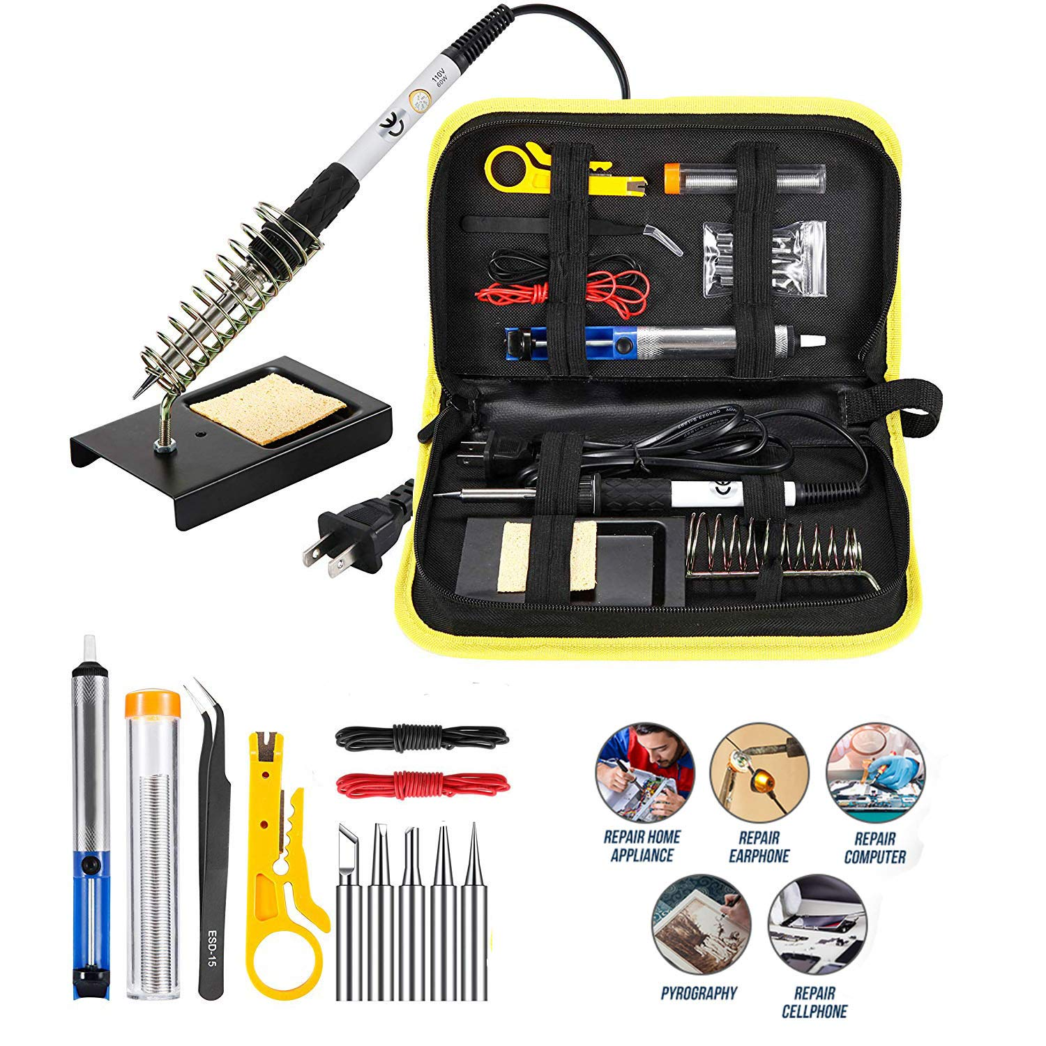 Magento's Superb 14 Pieces Set Adjustable Temperature Soldering Iron Gun Kit 60w 110v Best for Small Electric Work and Welding. 5 Bonus Tips in Various Sizes Bonus Solder Wire Stand .