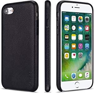 rejazz iPhone 7 Case iPhone 8 Case Anti-Scratch iPhone 7 Cover iPhone 8 Cover Genuine Leather Apple iPhone Cases for iPhone 7/8 (4.7 Inch)(Black)