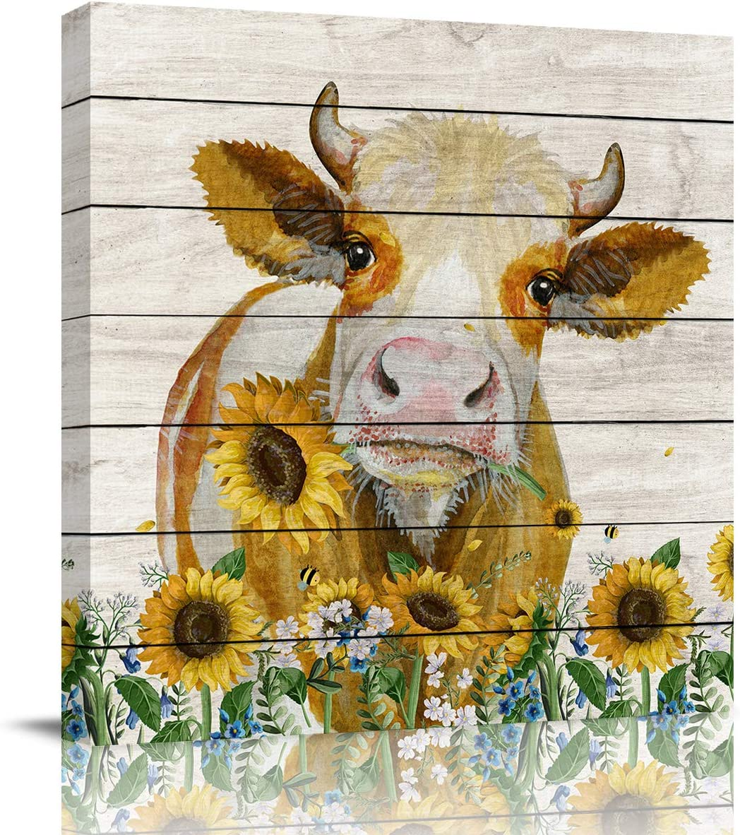 FOREVER20 Canvas Print Wall Art for Bathroom Kitchen Wall Decor America Country Style Animal Cattle with Barn Wood Picture Painting Contemporary Artwork Stretched and Framed for Bedroom 12x12in