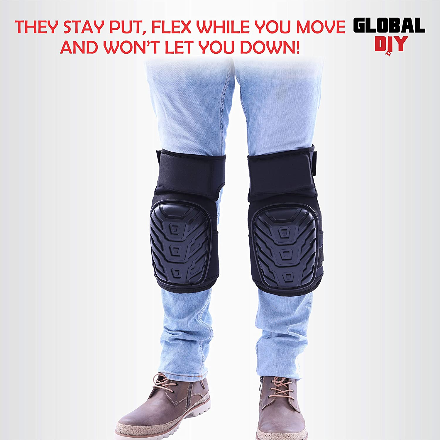 FOR BIKE GARDENING KNEELING MOUNTAIN CLIMBING KNEE PADS FOAM PADDING COMFORTABLE GEL CUSHIONING WITH STURDY STRAPS FOR FIRM GRIP AND EXCEPTIONAL PROFESSIONAL CONSTRUCTION GLOBAL DIY