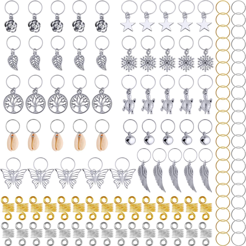 120 Piezas de Anillas de Trenza de Pelo Puños de Pelo de Metal Dreadlocks de Pelo de Cobre y Encantos Colgantes Clip de Pelo Accesorios de Diadema (Dorado) TecUnite