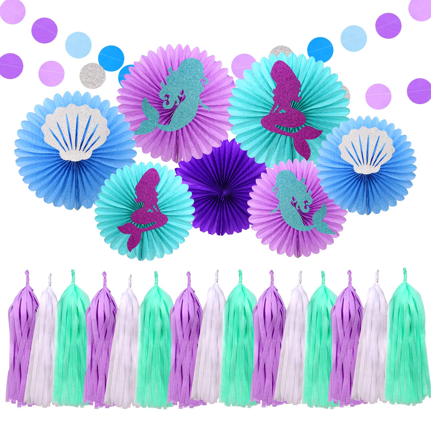 Mermaid Party Decoration Kit Tissue Paper Fan Purple and Blue Dots Garland Under The Sea Themed Birthday Baby Shower Bridal Wedding Party Supplies SIFAN