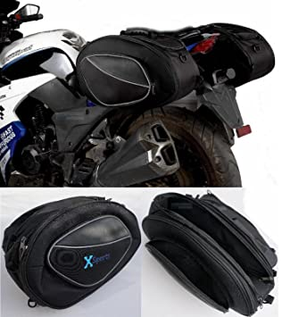 f4f6982121 Saddle Bags Expandable Throw Over Panniers Saddlebag Motorcycle Travel  Luggage