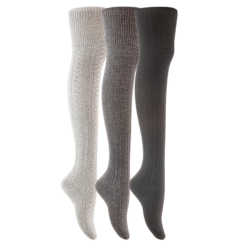 Lovely Annie Women's 3 Pairs Fashion Thigh High Cotton Socks J1025 Size 6-9(Black,Grey,Dark Grey)
