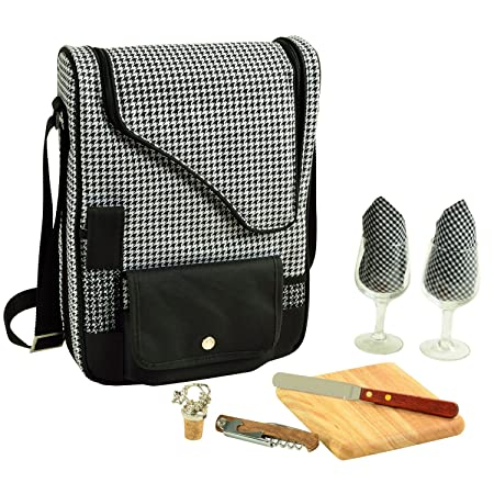Picnic at Ascot – Wine Carrier Deluxe with Glass Wine Glasses and Accessories for Two, Houndstooth