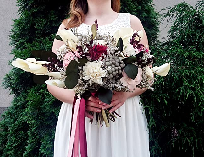 Amazon.com: Big Burgundy Wine Blush Pink Boho Wedding Bouquet Dried ...