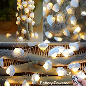 Lightingift Seashell String Lights, Beach Themed 13.8 ft 40 LED Lights, Battery Operated with Remote for Wedding Summer Holiday Birthday Parties(Warm White)