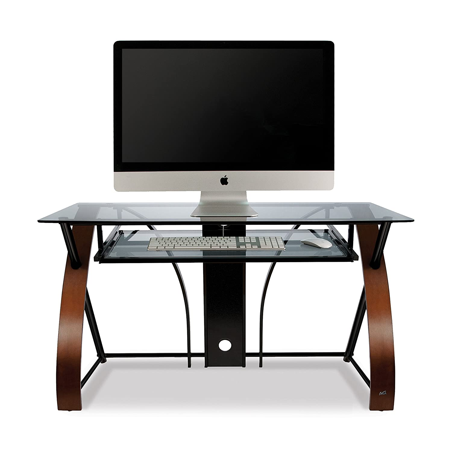 bell o cd8841 curved wood metal and glass computer desk amazon co