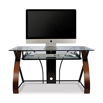 Bell'O CD8841 Curved Wood, Metal and Glass Computer Desk