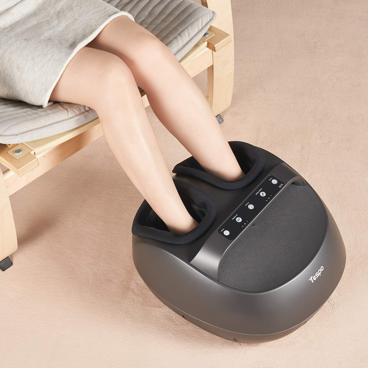 Shiatsu Foot Massager Machine with Heat – Tespo Deep Kneading Therapy, Foot Air Compression, Relieve Foot Pain from Plantar Fasciitis, Improve Blood Circulation