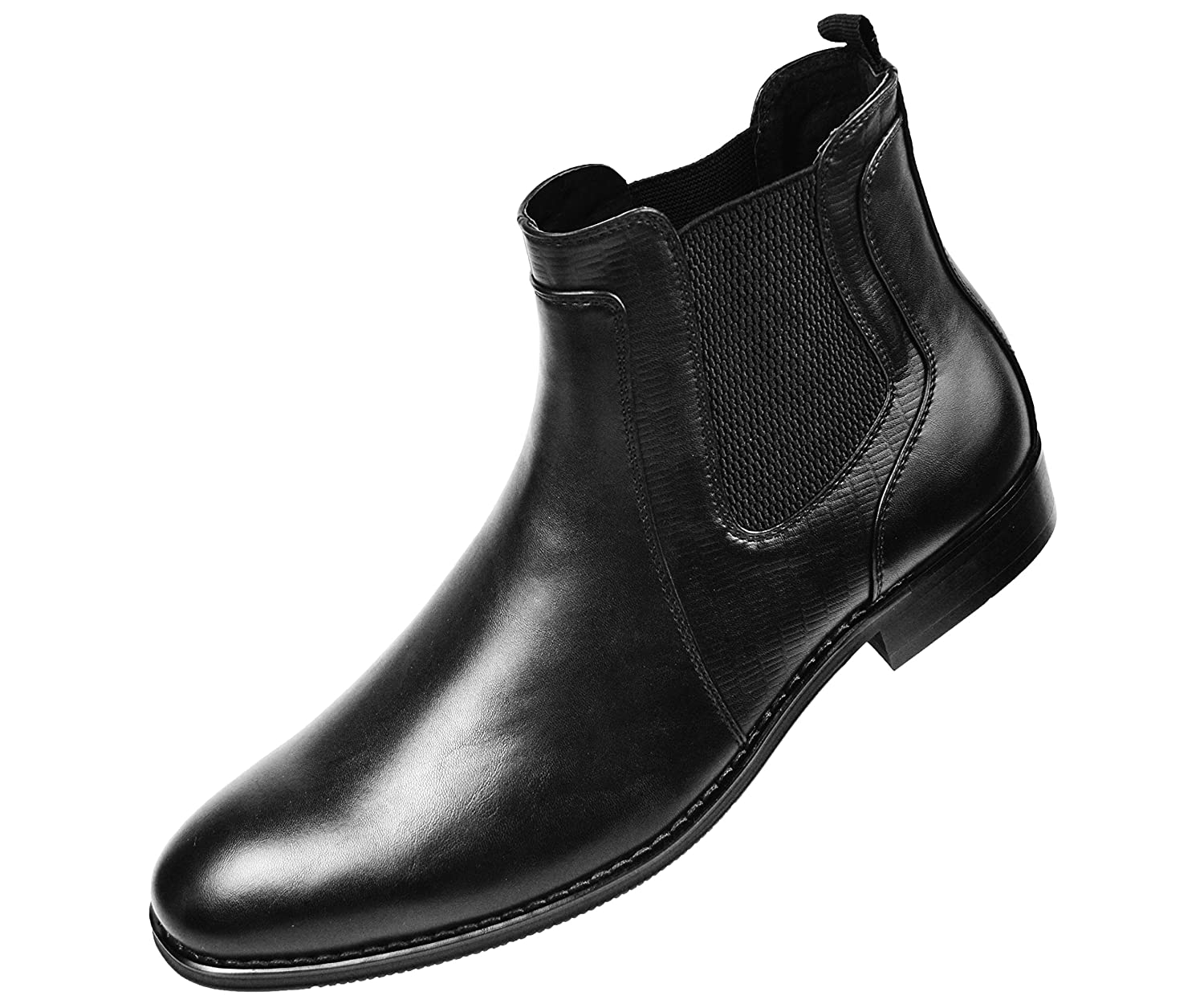 Amali Mens Black Smooth and Embossed Designed Double Gore Slip On Boots :Style Provo-000
