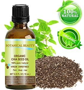 """ORGANIC CHIA SEED OIL. 100% Pure / Natural / Undiluted / Cold Pressed Carrier Oil for Skin, Hair, Lip and Nail Care. """"A remarkable and stable source of omega-3,6,9, B-vitamins and minerals."""" 0.33 fl.oz-10ml."""