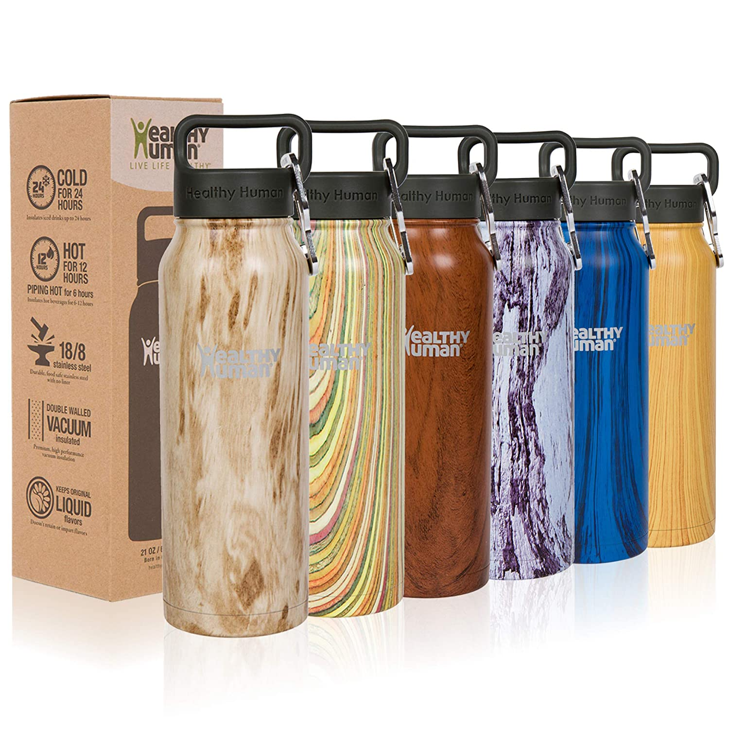 Hot 12 Hours 40 oz Keeps Cold 24 Hours Double Walled Water Bottle 32 oz 21 oz 16 oz Healthy Human Wood Collection Stainless Steel Vacuum Insulated Water Bottle