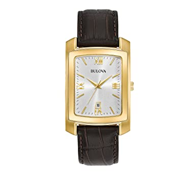 Bulova Mens Classic Crocodile Grain Leather Strap Rectangular Watch