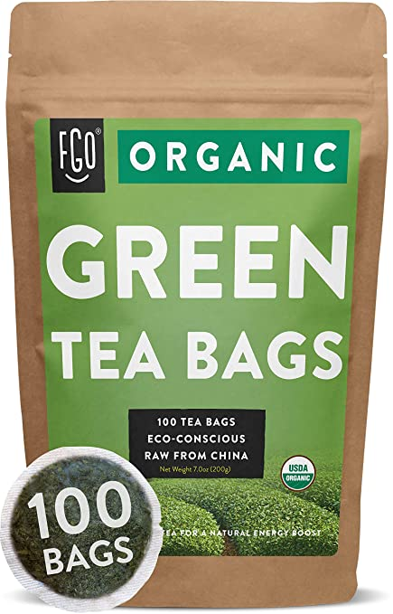 Organic Green Tea Bags | 100 Tea Bags | Eco-Conscious Tea Bags in Foil Lined Kraft Pouch | by FGO