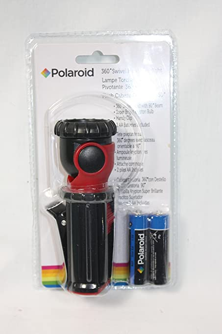 Red Polaroid 360 Degree Swivel Head Clip-on Flashlight Batteries Included