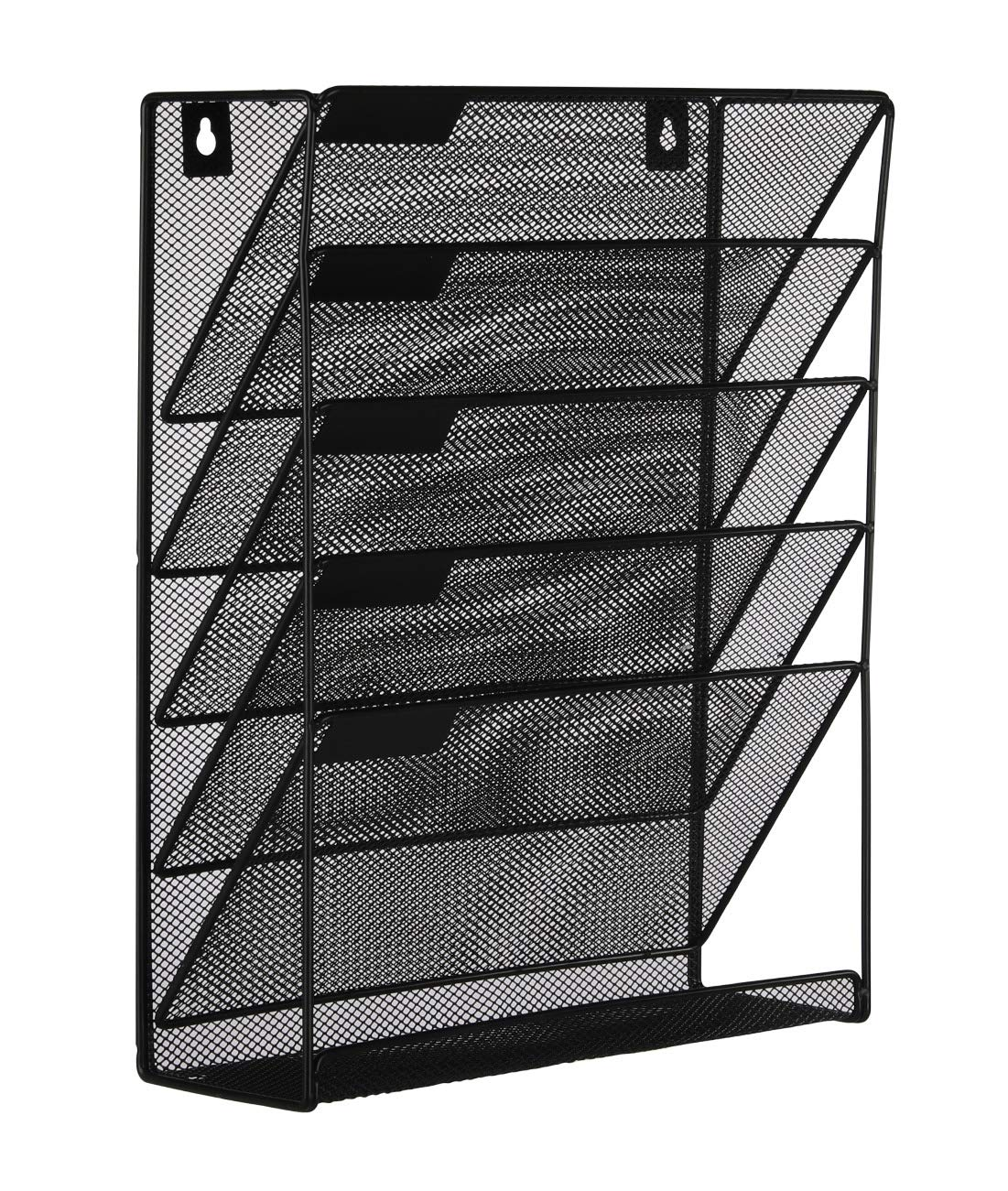 EasyPAG Mesh Wall File Holder 5 Tier Vertical Mount / Hanging Organizer with Bottom Flat Tray ,Black by EasyPAG