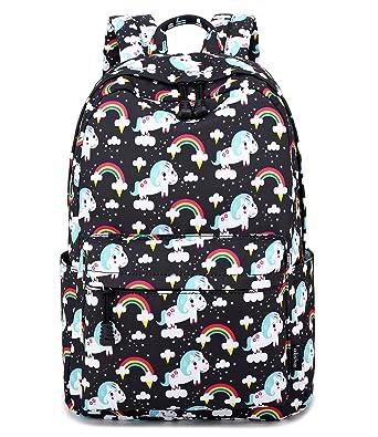 dc1241b76c Abshoo Cute Lightweight Unicorn Elementary Backpacks for Girls Kids Bookbag  (Black)