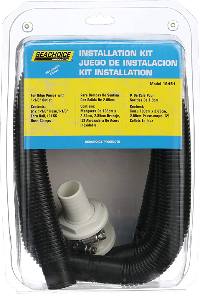 /& SKIN FITTING BILGE 29MM FLEXIBLE BILGE PUMP 4 FT HOSE KIT 1 1//8/""