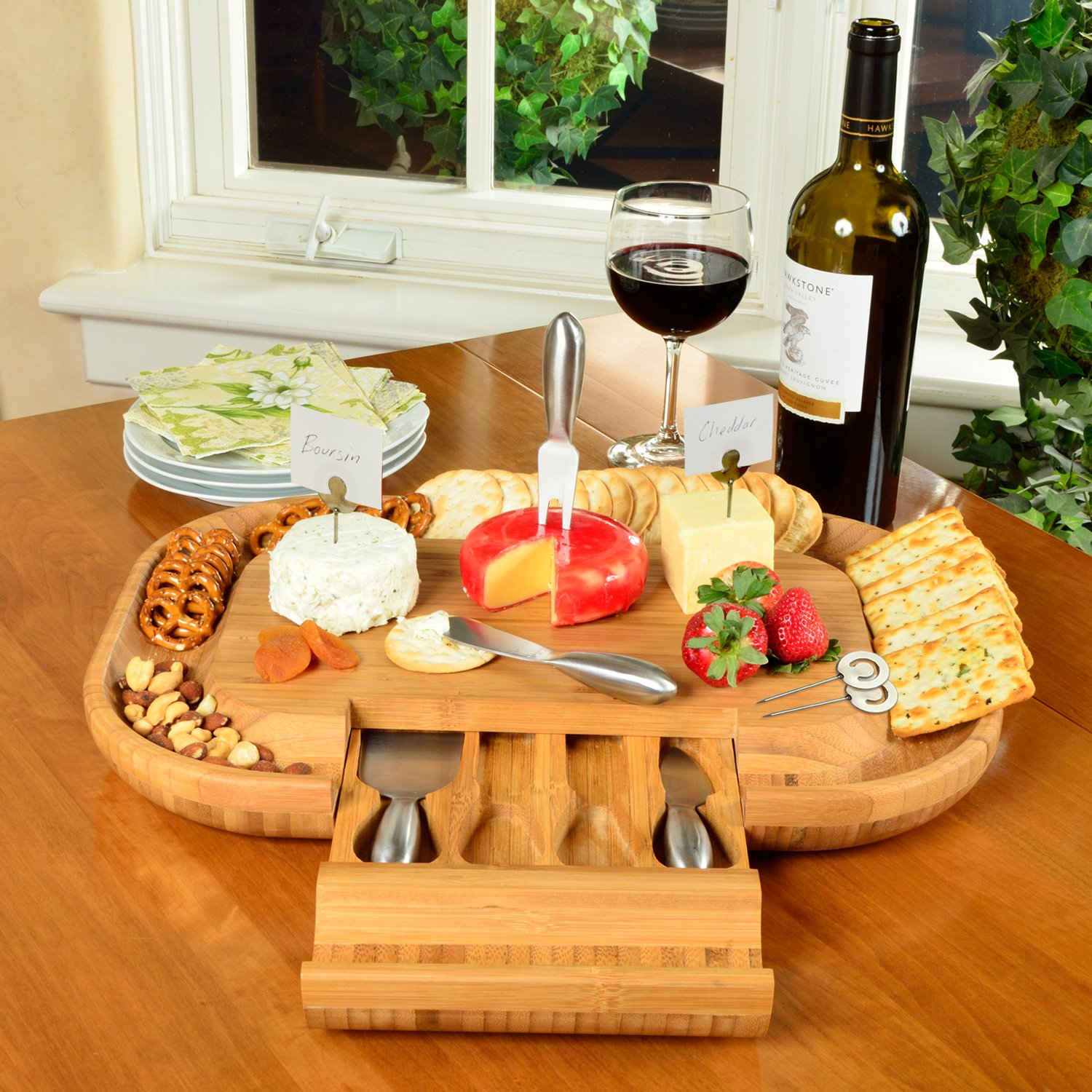 Picnic at Ascot -The''Original'' Large Bamboo Cheese Board with Cracker Groove & Integrated Drawer with 4 Piece Knife Set & Cheese Markers- Designed By Picnic at Ascot in the USA by Picnic at Ascot (Image #2)