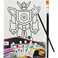 Asian Hobby Crafts Canvas Painting Kit with 5 Acrylic Colors, 2 Paint Brushes, 1 Palette (Transformer)