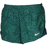 NIKE Women's Dri-Fit Allover Print Tempo Running Shorts Green