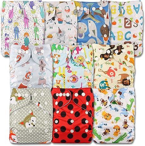 POPPER LittleBloom Beb/é Pa/ñales Lavables Pa/ñal Reutilizable Insertos Cierre Set de 12
