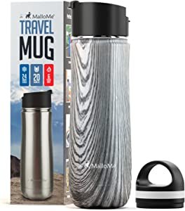 MalloMe Stainless Steel Coffee Travel Mug – 20 oz Vacuum Insulated Water Bottle Thermos Flask Cup Combo – Triple Walled Tumbler, 7 Colors, Two BPA Free Leak Proof Lids Included