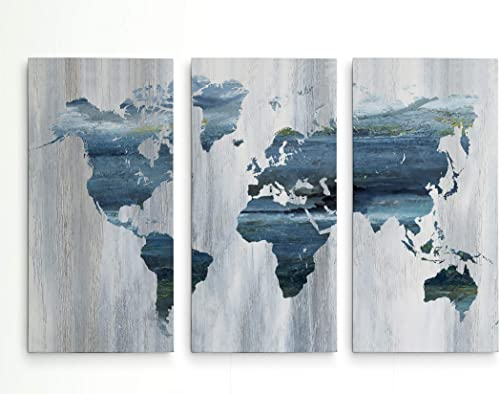 Textural World Map 3 Panel Gallery Wrapped Canvas Wall Art